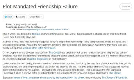 Plot-Mandated Friendshp Failure